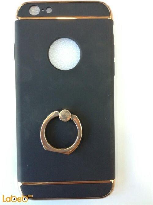 غطاء خلفي مناسب لموبايل ايفون 6 لون أسود مع خط ذهبي