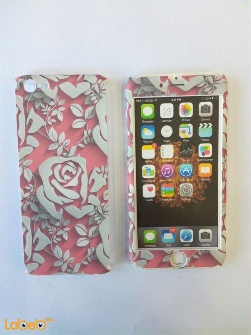 غطاء خلفي مناسب لموبايل ايفون 6s تصميم ورود لون ابيض ووردي