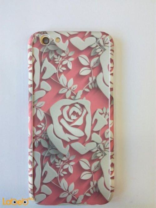 خلفية غطاء خلفي مناسب لموبايل ايفون 6s لون ابيض ووردي