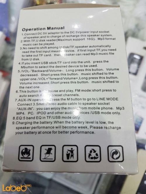 specifications Portable Mini Speaker T-2020