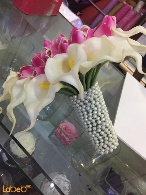 Bride Bouquet Holder artificial flower White and pink