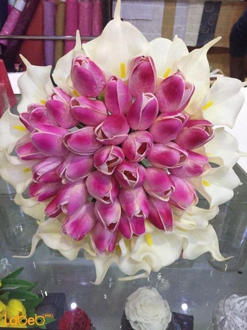 Bride Bouquet Holder artificial flower White & pink