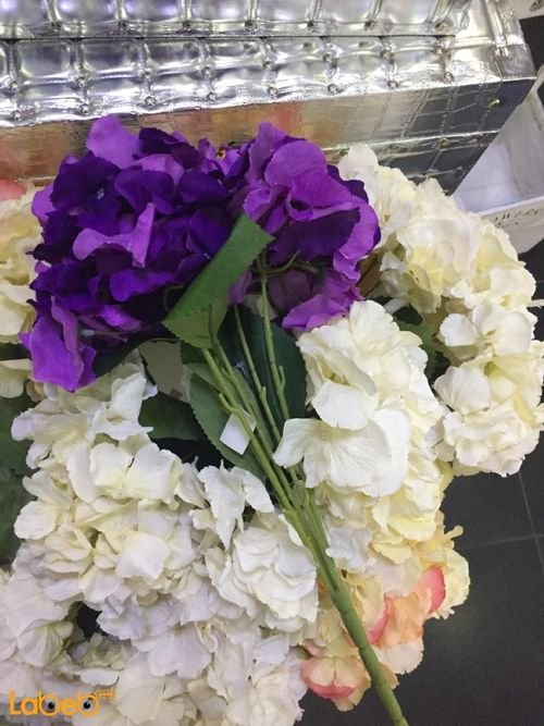 Artificial flowers bouquet Purple white and green