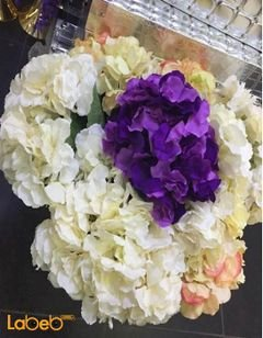 Artificial flowers bouquet - Small size - Purple white and green