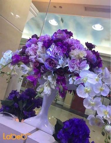 Flowers artificial vaze- White vaze- Purple white & green flowers