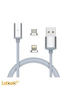 U-Cable 2 in 1 charge cable - suitable for iphones - 1.2m - white