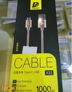 Pidan cable type C USB - 1 m - Gold color - X32 model