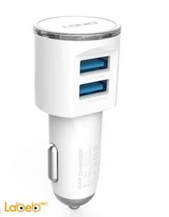 LDNIO USB Car Charger - 2 USB - white color - DL-C29 model