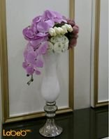 Artificial flowers with vaze white purple & pink flowers
