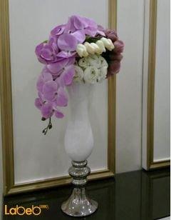 مزهرية وفازه ورد اصطناعي - فازه لون أبيض - ورد أبيض زهري بنفسجي
