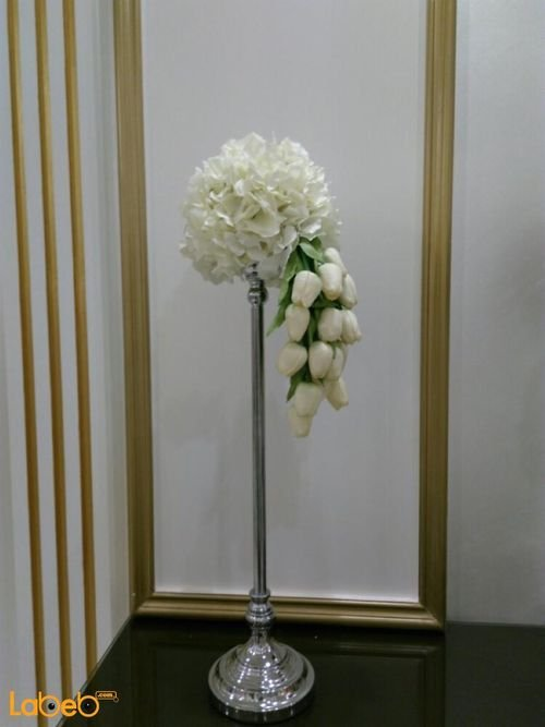 Bouquet artificial White flowers Green Paper silver base