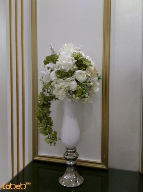 Artificial flowers White vaze white & green flowers