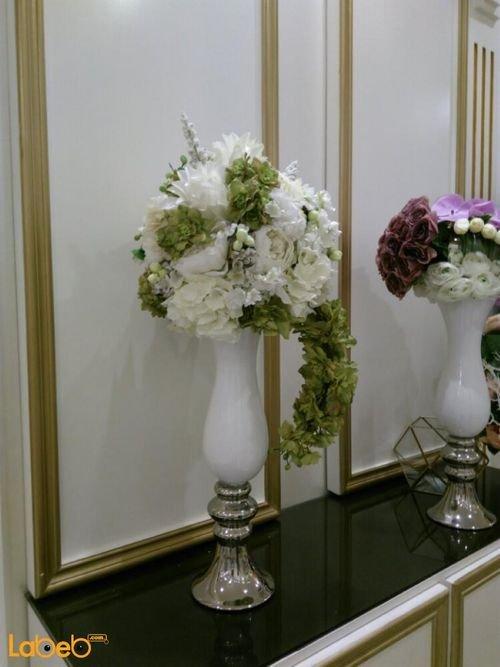 Artificial flowers vaze White vaze white & green flowers