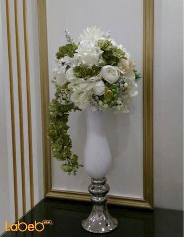 Artificial flowers vaze - White vaze - white & green flowers
