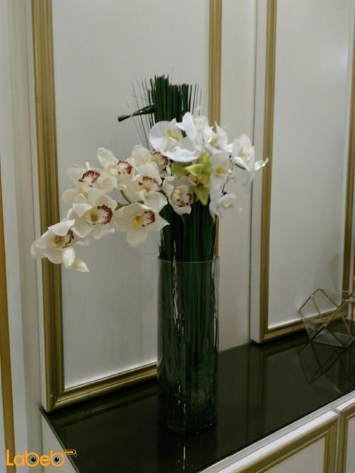 Artificial flowers bouquet white and Ivory color glass base