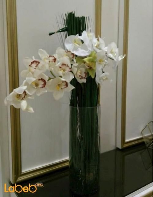 Artificial flowers bouquet white & Ivory color glass base