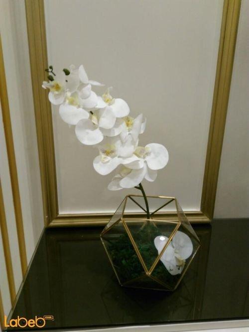 Artificial flowers glass vaze Transparent vaze white flowers