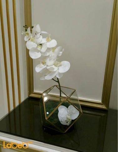 Artificial flowers vaze - Transparent vaze - white flowers