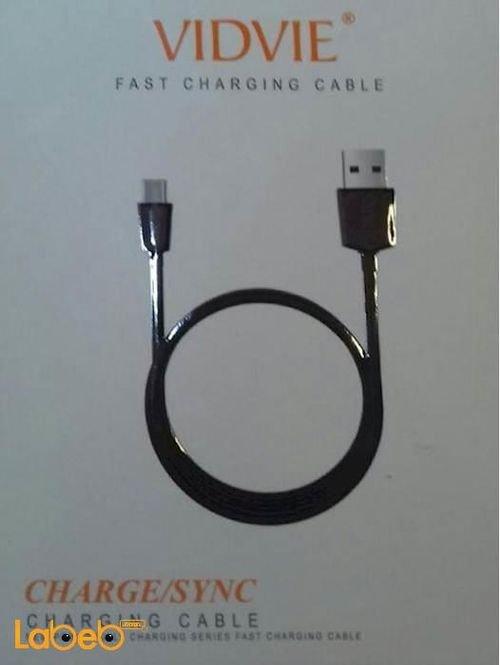 كابل شحن ومزامنة Vidvie طول متر USB اسود CB401V
