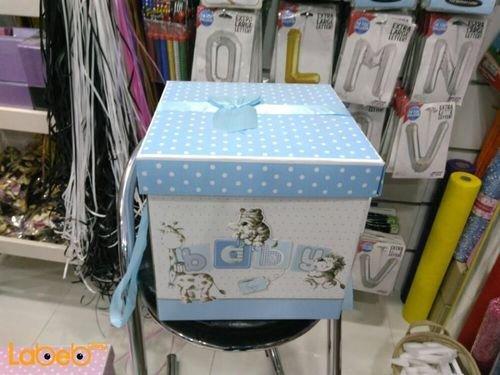 صندوق هدايا الاطفال الاولاد مع كتابة كلمة baby أزرق