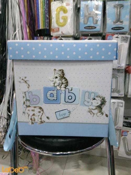 صندوق هدايا الاطفال مع كتابة كلمة baby لون أزرق
