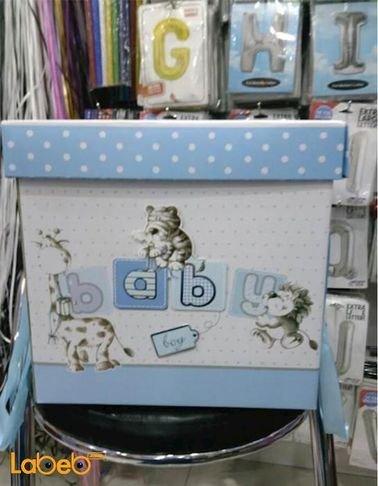 صندوق هدايا الاطفال الاولاد - مع كتابة كلمة baby - لون أزرق