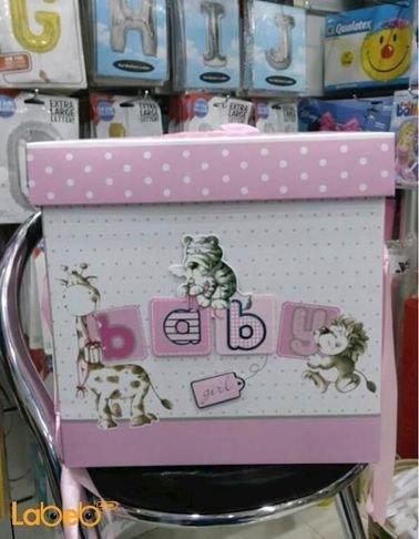 صندوق هدايا الاطفال للبنات - مع كتابة كلمة baby - لون زهري