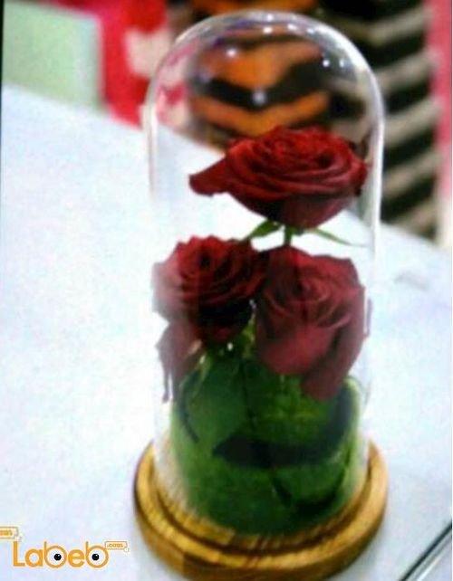 فازة ورد طبيعي مميزة 3 وردات لون احمر قاعدة دائرية خشبية