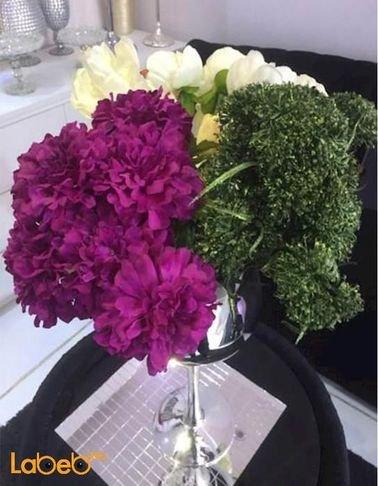 Flowers vase - silver vase - purple white green yellow flowers