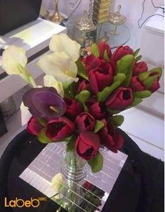 مزهرية وفازا ورد اصطناعي - ورد توليب أحمر - ورد أبيض وبنفسجي