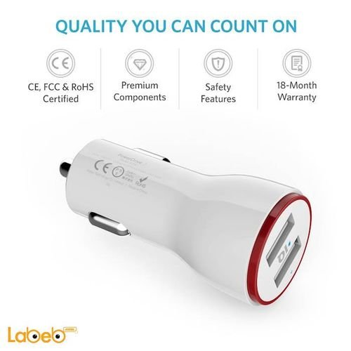 white Anker 2-Port USB Car Charger B2310022