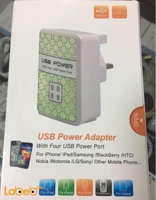 شاحن موبايل 4 منافذ USB الطاقة 110-240 فولت لون ابيض