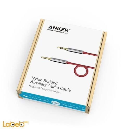 Anker Nylon Braided Auxiliary Audio Cable 1.2m red A7113091