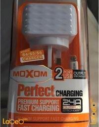 شاحن حائط moxom منفذين USB لون أبيض