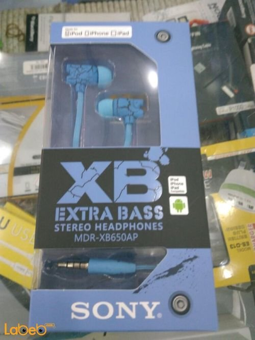 Sony Extra Bass Stereo Headphones blue color MDR-XB650AP