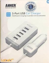 شاحن سيارة انكر 5 مداخل USB يونيفرسال أبيض 71AN7104C