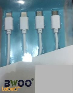 Bwoo 4-in-1 USB Cable - 100 cm length - White - Universal