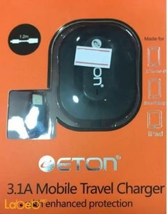 Eton 3.1A mobile car charger - for galaxy & iPhone - 1.2m - Black