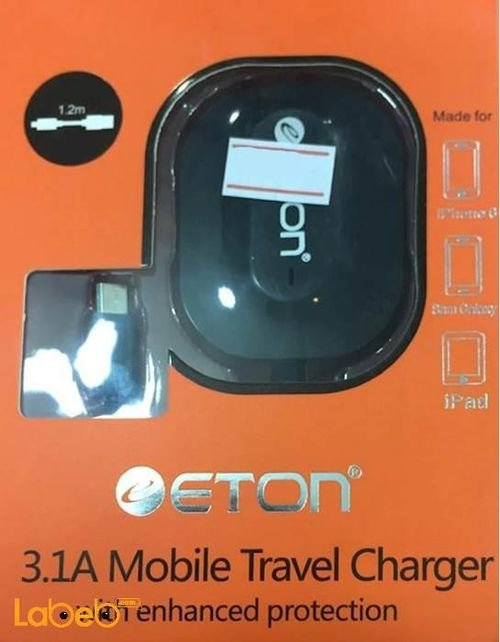 Eton 3.1A mobile car charger for galaxy & iPhone 1.2m Black color