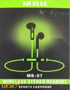 سماعة بلوتوث Mi Blue - زمن التحدث 10 ساعات - لون أخضر - MB-07