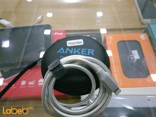 Anker USB charging Cable for iphone 0.9m Silver color