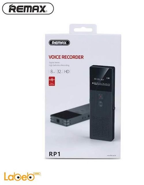 مسجل صوت رقمي محمول RP1 ريماكس 8 جيجابايت HD أسود