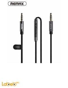 كابل صوت Aux ريماكس - 1.2متر - 3.5 ملم - مايكروفون - أسود - S120