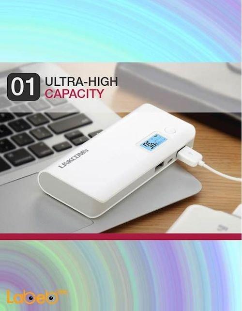 شاحن محمول Linkcomn سعة 10000mAh منفذين USB أبيض Jokul 100