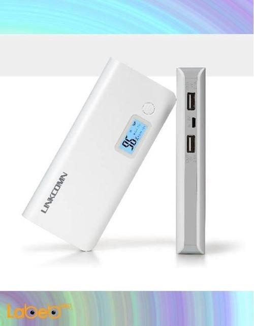 شاحن محمول Linkcomn Jokul 100سعة 10000mAh منفذين USB أبيض