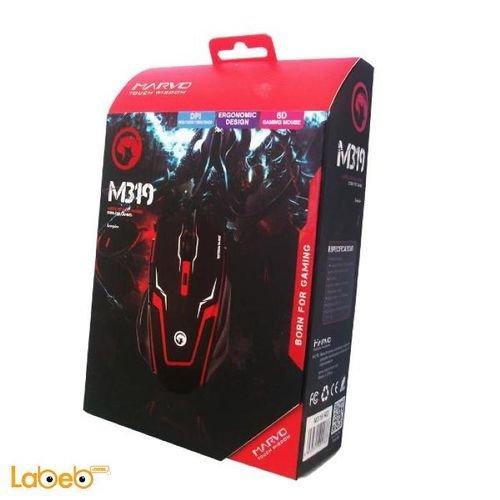 ماوس ألعاب سلكي مارفو منفذ USB اسود وأحمر M319