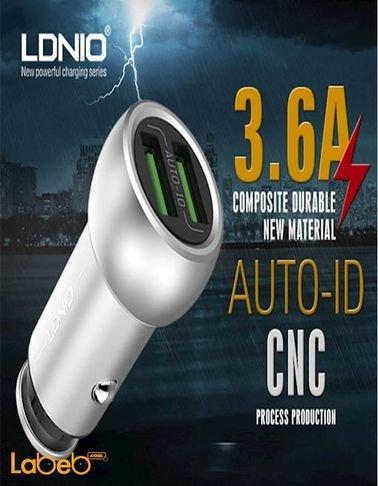 شاحن سيارة لدنيو منفذين يو اس بي 3.6 أمبير فضي C401