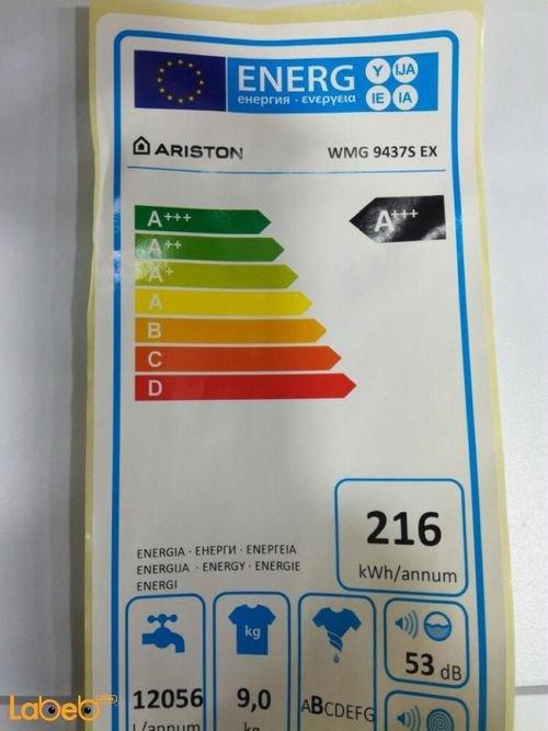 energy label Ariston Front Loading Washer 9Kg