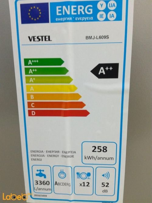 specifications Vestel dishwasher