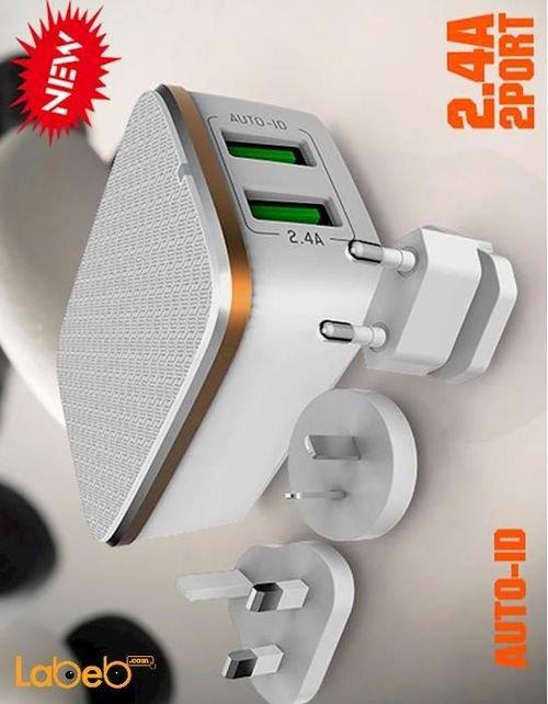 شاحن حائط لدنيو منفذين USB لون أبيض A2204